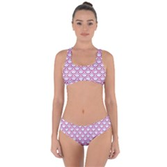 Scales2 White Marble & Pink Denim (r) Criss Cross Bikini Set