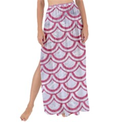 Scales2 White Marble & Pink Denim (r) Maxi Chiffon Tie Up Sarong