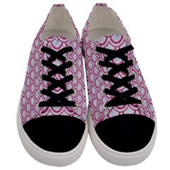 Scales2 White Marble & Pink Denim (r) Men s Low Top Canvas Sneakers