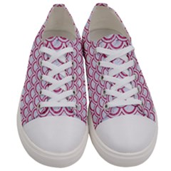 Scales2 White Marble & Pink Denim (r) Women s Low Top Canvas Sneakers