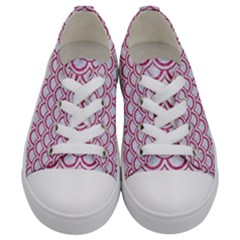 Scales2 White Marble & Pink Denim (r) Kids  Low Top Canvas Sneakers