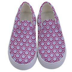 Scales2 White Marble & Pink Denim (r) Kids  Canvas Slip Ons