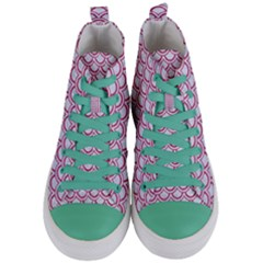 Scales2 White Marble & Pink Denim (r) Women s Mid Top Canvas Sneakers