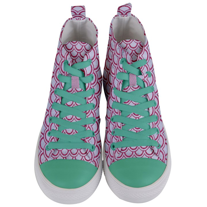 SCALES2 WHITE MARBLE & PINK DENIM (R) Women s Mid-Top Canvas Sneakers