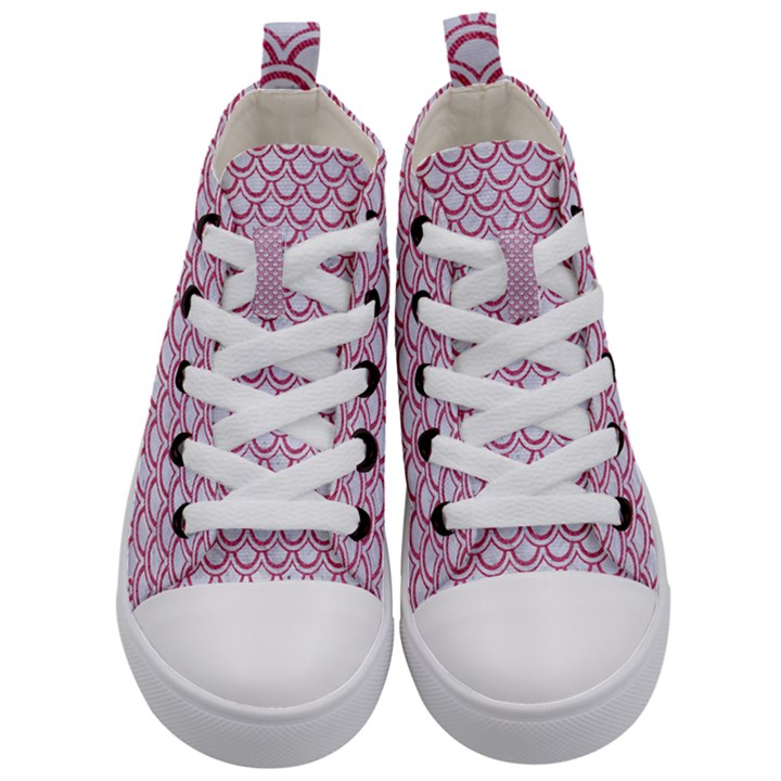 SCALES2 WHITE MARBLE & PINK DENIM (R) Kid s Mid-Top Canvas Sneakers