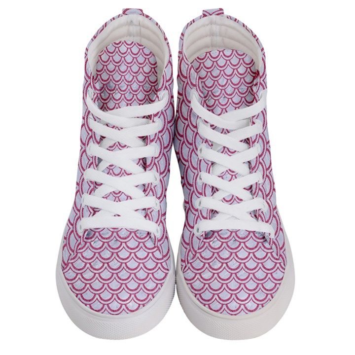 SCALES2 WHITE MARBLE & PINK DENIM (R) Men s Hi-Top Skate Sneakers