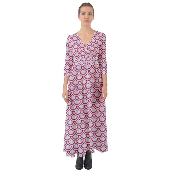 SCALES2 WHITE MARBLE & PINK DENIM (R) Button Up Boho Maxi Dress