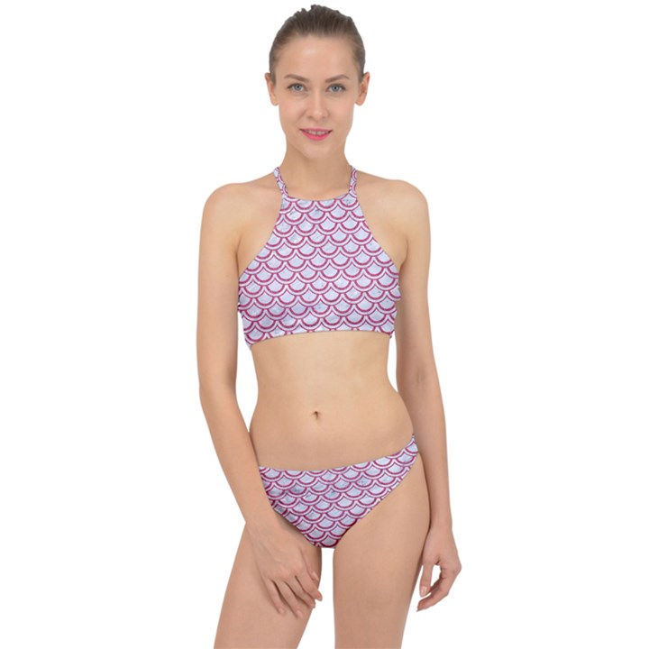SCALES2 WHITE MARBLE & PINK DENIM (R) Racer Front Bikini Set