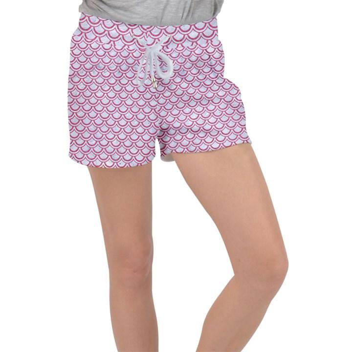 SCALES2 WHITE MARBLE & PINK DENIM (R) Women s Velour Lounge Shorts