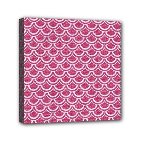 Scales2 White Marble & Pink Denim Mini Canvas 6  X 6