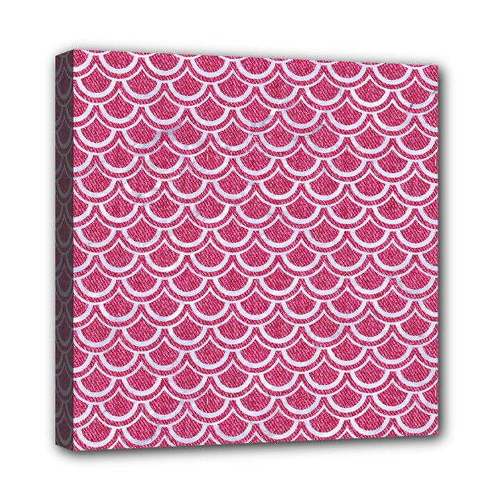 SCALES2 WHITE MARBLE & PINK DENIM Mini Canvas 8  x 8