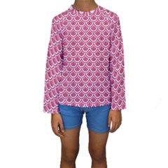 Scales2 White Marble & Pink Denim Kids  Long Sleeve Swimwear by trendistuff