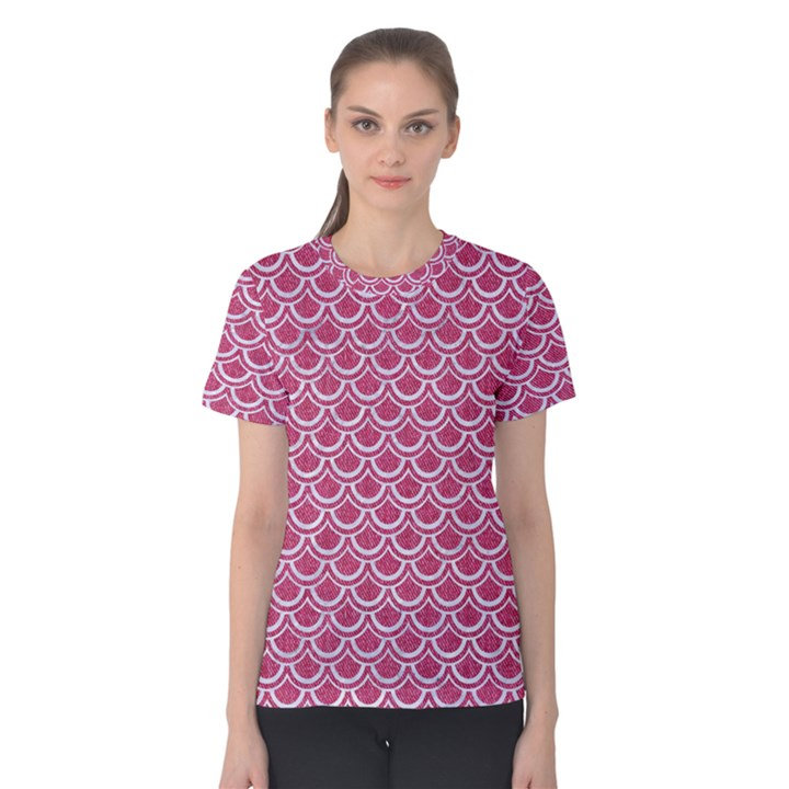SCALES2 WHITE MARBLE & PINK DENIM Women s Cotton Tee