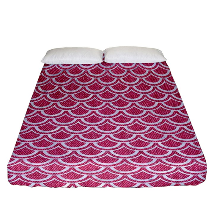 SCALES2 WHITE MARBLE & PINK DENIM Fitted Sheet (California King Size)