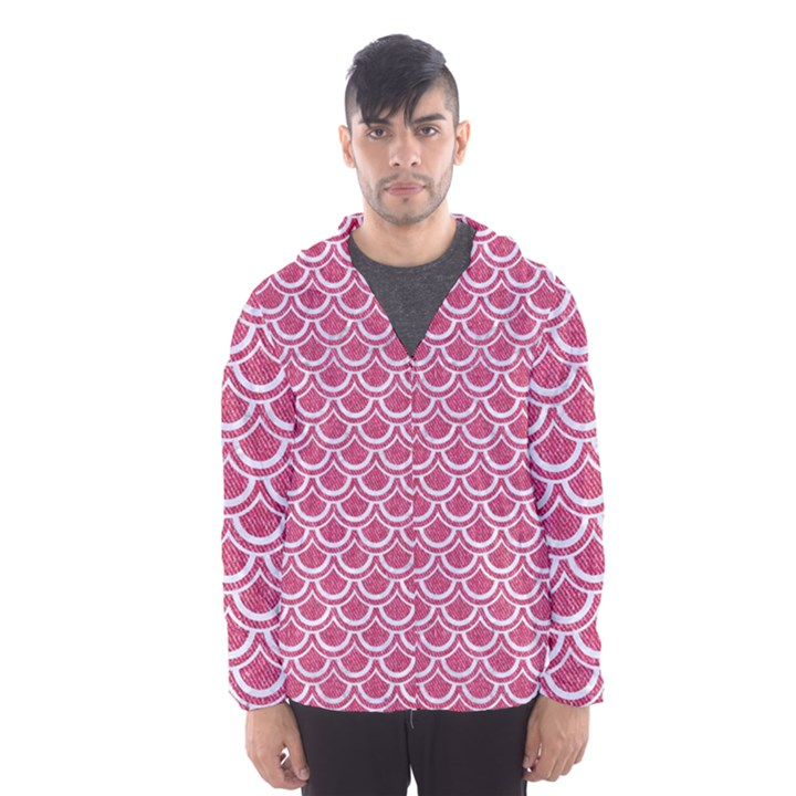 SCALES2 WHITE MARBLE & PINK DENIM Hooded Windbreaker (Men)