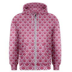 Scales2 White Marble & Pink Denim Men s Zipper Hoodie