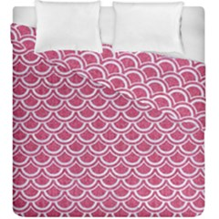 Scales2 White Marble & Pink Denim Duvet Cover Double Side (king Size)