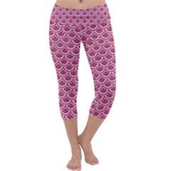 Scales2 White Marble & Pink Denim Capri Yoga Leggings