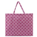 SCALES2 WHITE MARBLE & PINK DENIM Zipper Large Tote Bag View1
