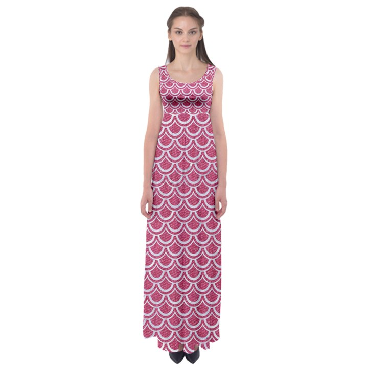 SCALES2 WHITE MARBLE & PINK DENIM Empire Waist Maxi Dress