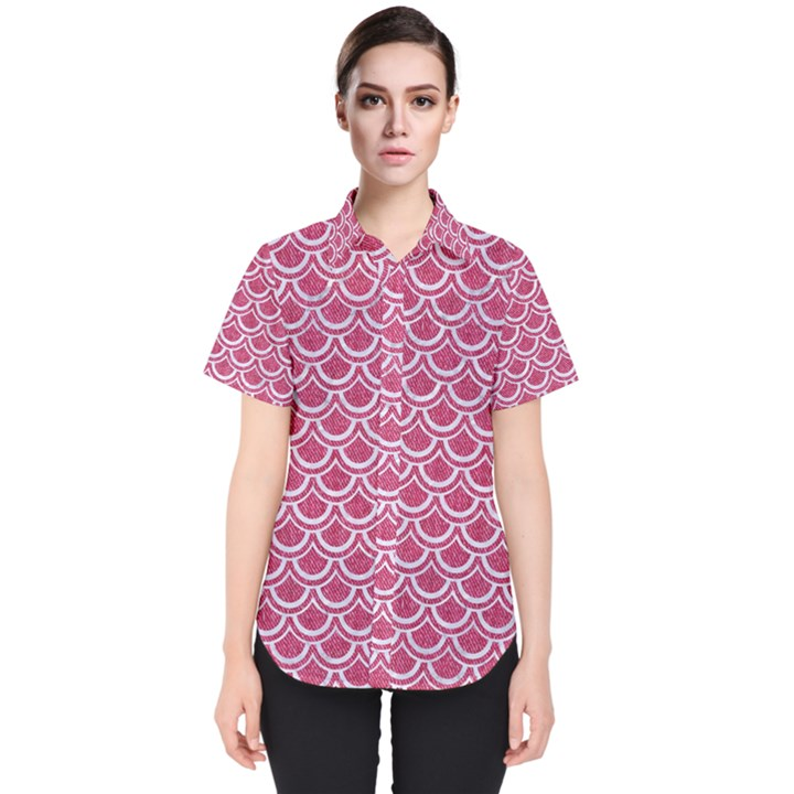 SCALES2 WHITE MARBLE & PINK DENIM Women s Short Sleeve Shirt