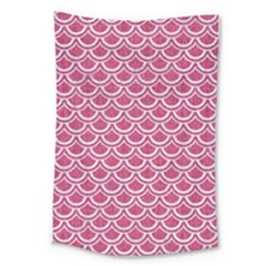 Scales2 White Marble & Pink Denim Large Tapestry by trendistuff