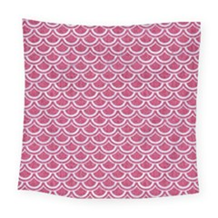 Scales2 White Marble & Pink Denim Square Tapestry (large)