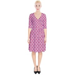Scales2 White Marble & Pink Denim Wrap Up Cocktail Dress