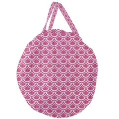 Scales2 White Marble & Pink Denim Giant Round Zipper Tote