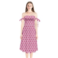 Scales2 White Marble & Pink Denim Shoulder Tie Bardot Midi Dress