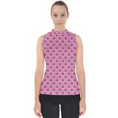 Scales2 White Marble & Pink Denim Shell Top