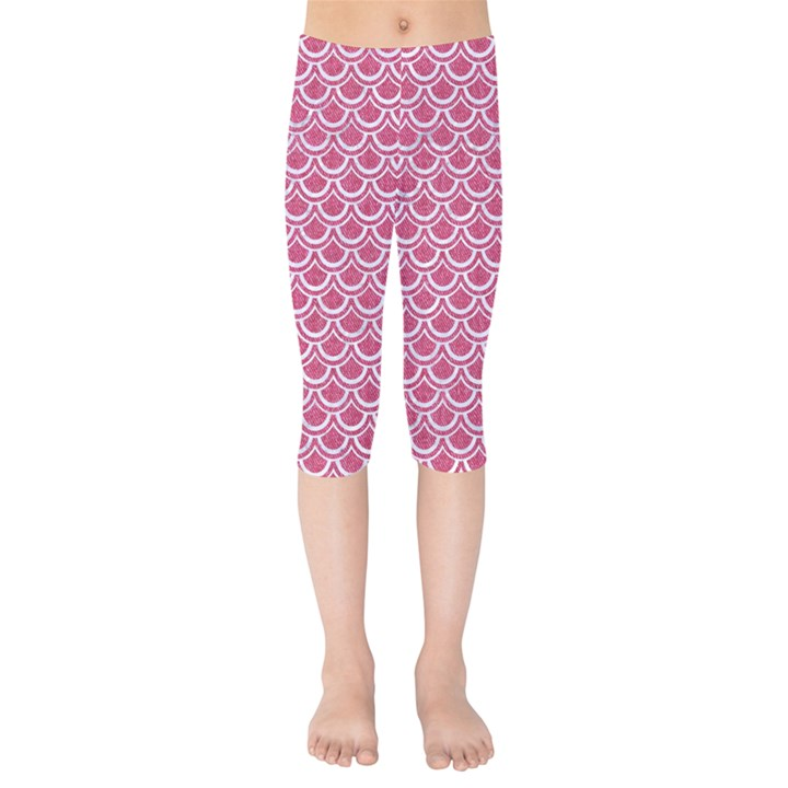 SCALES2 WHITE MARBLE & PINK DENIM Kids  Capri Leggings