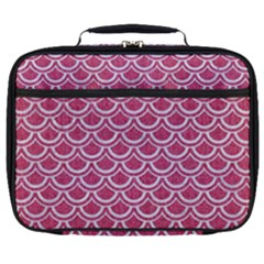 Scales2 White Marble & Pink Denim Full Print Lunch Bag