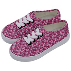 Scales2 White Marble & Pink Denim Kids  Classic Low Top Sneakers by trendistuff