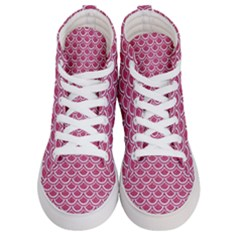 Scales2 White Marble & Pink Denim Men s Hi Top Skate Sneakers
