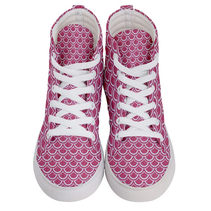 SCALES2 WHITE MARBLE & PINK DENIM Men s Hi-Top Skate Sneakers