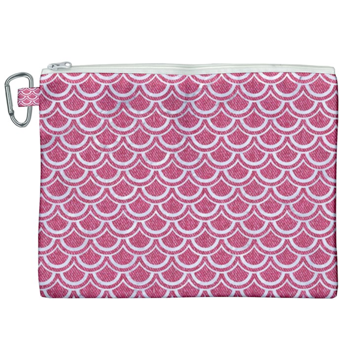 SCALES2 WHITE MARBLE & PINK DENIM Canvas Cosmetic Bag (XXL)