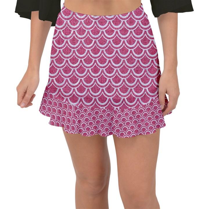 SCALES2 WHITE MARBLE & PINK DENIM Fishtail Mini Chiffon Skirt