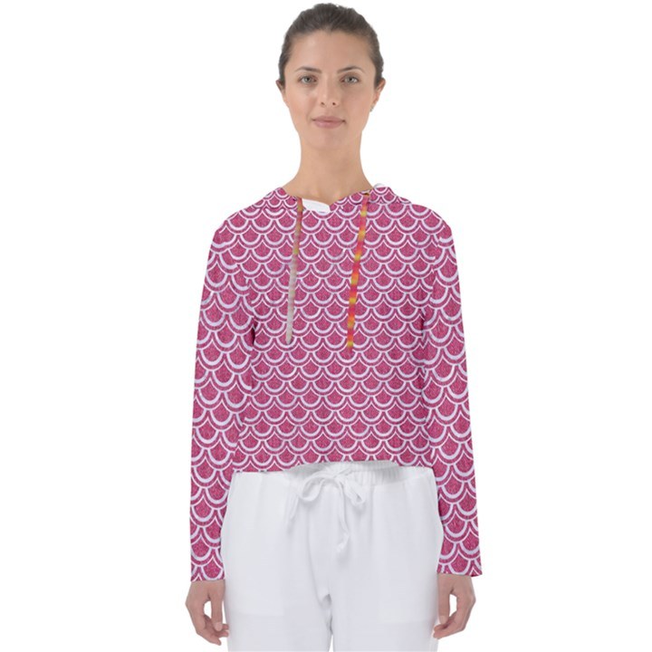 SCALES2 WHITE MARBLE & PINK DENIM Women s Slouchy Sweat