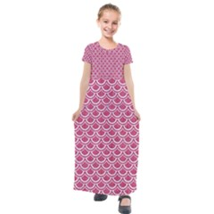 Scales2 White Marble & Pink Denim Kids  Short Sleeve Maxi Dress