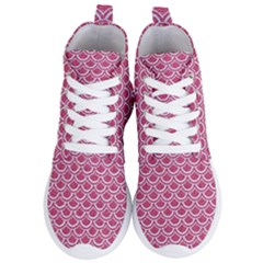 Scales2 White Marble & Pink Denim Women s Lightweight High Top Sneakers