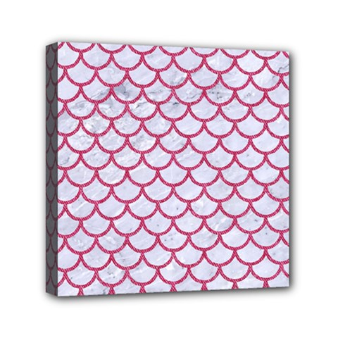 Scales1 White Marble & Pink Denim (r) Mini Canvas 6  X 6  by trendistuff