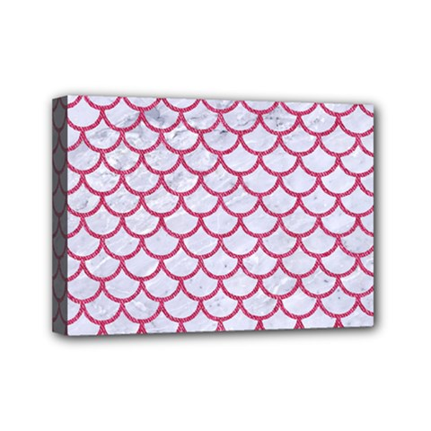 Scales1 White Marble & Pink Denim (r) Mini Canvas 7  X 5