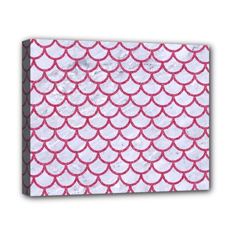 Scales1 White Marble & Pink Denim (r) Canvas 10  X 8