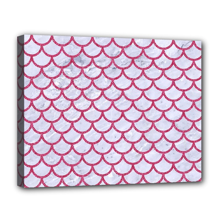 SCALES1 WHITE MARBLE & PINK DENIM (R) Canvas 14  x 11