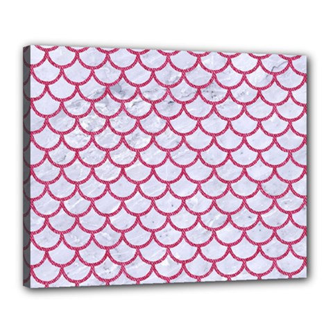 Scales1 White Marble & Pink Denim (r) Canvas 20  X 16