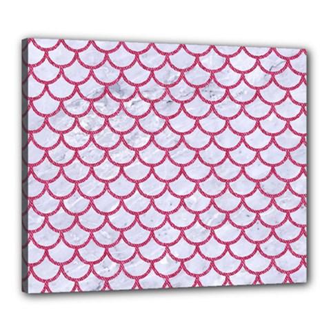 Scales1 White Marble & Pink Denim (r) Canvas 24  X 20