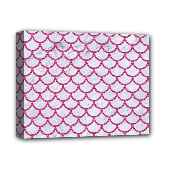 SCALES1 WHITE MARBLE & PINK DENIM (R) Deluxe Canvas 14  x 11