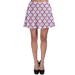 Scales1 White Marble & Pink Denim (r) Skater Skirt
