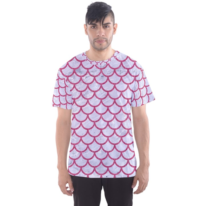 SCALES1 WHITE MARBLE & PINK DENIM (R) Men s Sports Mesh Tee